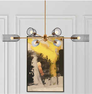 6 Lights Postmodern Bedroom Chandelier Lamp Smoke Gray Glass Lampshade E14 LED Hanging Lamp Dining Table Office Bar