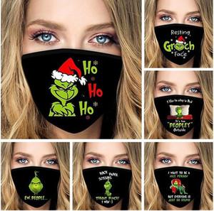 2020 Grinch Stole Christmas 3D Imprimer Cosplay Masques de visage Réutilisable Lavable anti-poussière Mignon Adulte Masque Masque Coton Masque Fy9282