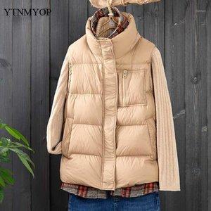 YTNMYOP Su Geçirmez Kış Yelek Kadın Şık Dikiş Yelek Kadın Kalın Sıcak Kolsuz Ceket Ceket Standı Yaka Tops1