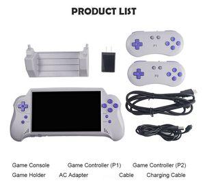 Console di gioco portatile da 7 pollici con supporto per scheda di gioco 4K HDTvnes output / 2 giocatore gioco per FC / GBA / NES / per bambini regalo
