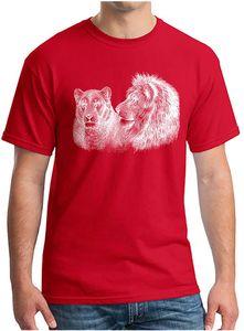 Mens Cotton Soft Sketch Tiger Lion Pure Print Short Sleeve Crew Neck T-Shirts Man Women Fashion Novel Casual Sportswear Tops Tee Shirts