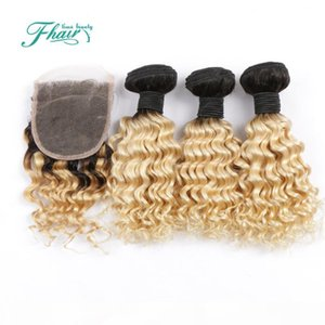 8A Indian Deep Curly 1B 613 Blond Hair With Closure 3 Bundles With 4*4 Lace Closure Dark Roots Omber Human Hair With Closure