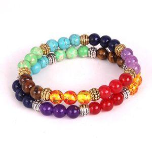 Fashion Colorful Natural Stone Beads Chakra Bracelet for Women Bracelets Jewelry 7 Chakras Gemstone Bracelet