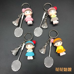 Badminton carino bambola ciondolo gioielli keychain sport concorrenza premio piccolo regalo
