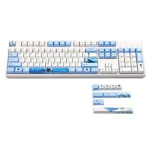 YMDK Cherry Profile 108 Пять сторон Краситель Сублимация PBT KeyCap для стандартных ANSI MX коммутаторы механическая клавиатура вишня 3800 38501
