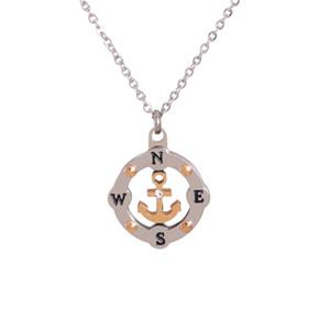 Colar de bússola de moda aço inoxidável redondo oco âncora bússola pingente colar designer jóias para mulher