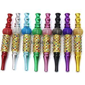 2020 Colorful Handmade Tobacoo Smoking Pipes Metal Mouth Tips Hookah Mouthpiece Tips Pendant Shisha Arab Inlaid Smoking pipe Tool
