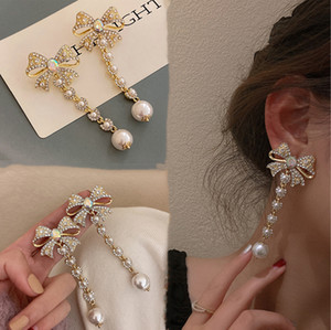 2021 New Fashion Women Long Pearls Wedding Drop Earrings Butterfly Crystals Dangle Earrings Jewelry For Girls Gift Prom Evening Party Events