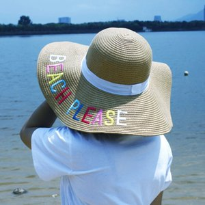 Women Wide Brimmed Summer Hats Letter Embroidery Laides Bucket Hat Foldable Beach Straw Visor Sun Hat UA Cap Khaki Black White Solid Color