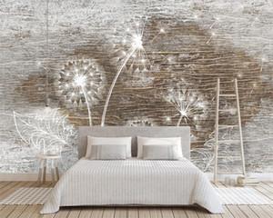 Romantic Floral 3d Wallpaper Nordic Wood Texture Dandelion Background Wall Modern Decorative Painting Classic 3d Wallpaper