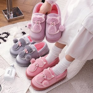 Women Winter Warm Plush Slippers Ladies Indoor Home Cotton Cute cat slippers Female Flat Shoes Shollow Thick Heels Pointed Toe 201203
