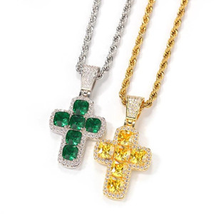 Hip Hop Claw Setting CZ Stone Bling Iced Out Solid Cross Pendants Necklaces for Men Women Rapper Jewelry