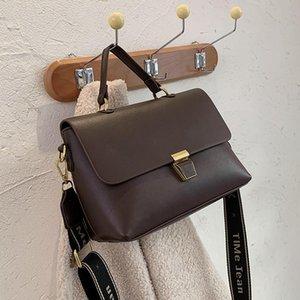Niche Design Simple Handbag Femenino Otoño / Invierno Nuevo estilo Hombro Messenger Bag Western Style Wide Band Square Bag Anchura: 27cm