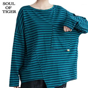 SOUL OF TIGER Tops Fashion Ladies Long Striped Loose Designer Casual Printed Shirts Tee Korean Womens Sleeve Plus Clothing Size1 Awifi