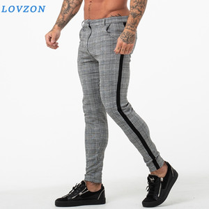 Mens Slim Fit Skinny Pants For Men Chino Trousers Plaid Design Fashion Grey Casual Plaid Pants With Stripe At Side