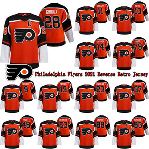 Philadelphia Flyer 2021 Reverse Retro Jersey 28 Claude Giroux 13 Kevin Hayes 79 Carter Hart 17 Wayne Simmonds Hockey-Trikots