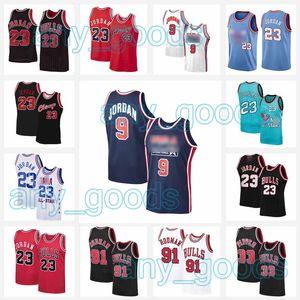 23 MJ 9 Michael Jersey NCAA Scottie 33 Pippen Dennis 91 RODMAN 45 MJ College USA 1992 Traumteam Männer Größe S-2XL Basketball Trikots