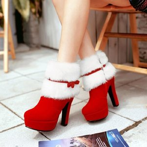 Hot Sale-Winter Snow Boots Women Platform Ankle Boots Fashion Fur Plush Keep Warm High Heels Ladies Shoes Zapatos Mujer Chaussure Femme