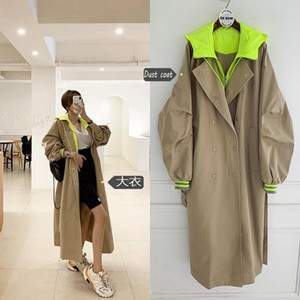 Korean Style Long Sleeve Loose Female Hooded Long Coat Women Oversized Trench Coat Retro Frock Windbreaker