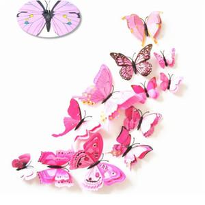 12шт многоцветные двойные слой крылья 3d наклейки на стену бабочка магнит PVC бабочки вечеринка детская спальня холодильник декор jllrer