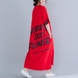 Plus Size Women Letter Print Dress Summer New Casual Red Cotton Long Ladies Dresses Korean Tshirt Dress Robe Femme Dresses 2020