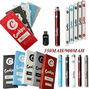 Cookies Vape Pen Batterie 350 900mAh VV Vorwärm Slim Twist 510 Thread 3,3-4.8V DAB Dicke Ölkassette Blisterverpackung unten Großhandel