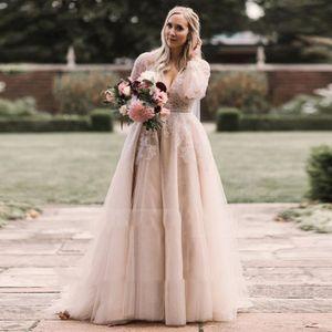 Plus Size Sexy V Neck Wedding Dresses Long Sleeves Lace Applique Tulle A Line Bride Wedding Gowns Cheap Vestidos De Novia