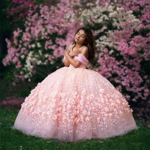 Real Images Pink Ball Gown Flower Girl Dresses for Wedding 2020 Off Shoulder Lace Beaded Girls Pageant Dress First Communion