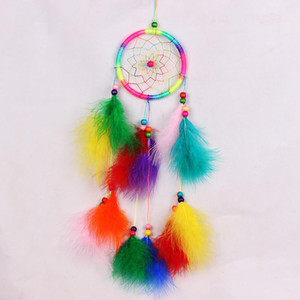 Handmade Lace Dream Catcher Car Ornaments Wall-mounted Dreamcatcher Home Decoration Pendant Gift Windchimes Black White Feather BEE3309
