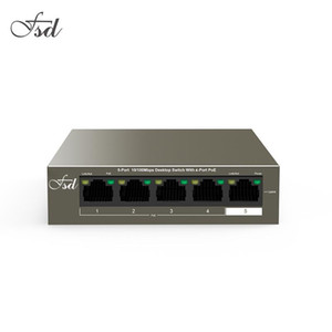 FSD TEF1105P-4-63W Ethernet Network Switch 10 100Mbps 5-Port,250M Long Distance Stable PoE Power Supply, Plug and Play