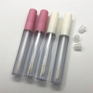 2.5ML Frosted Clear Empty Lip Gloss Containers Tube Lid Balm Lid Brush Tip Applicator Wand Rubber Stoppers 6 Colors BWF3328