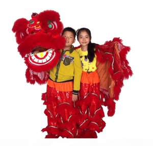 ART red children new Lion Dance mascot Costume school play outdoor children days Parade wool Southern Lion Adult size chinese Folk costume
