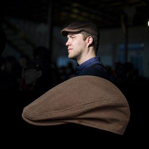 Mens Womens Cotton Duckbill Cap Ivy Cap 운전 태양 플랫 Cabbie Newsboy Hat 유니섹스 Berets LJ201126