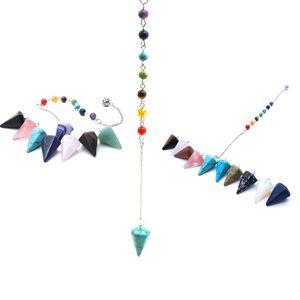 Hot Fortune-Telling Reiki Pendulum for Dowsing Natural Stone Crystal Red Agates Circular Cone Charm Pendant Pendule Divination