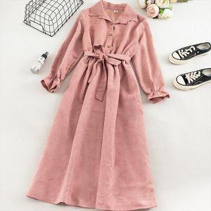 Women Long Corduroy Dress Autumn Flare Sleeves Turn down Collar Solid Vintage Korean Dress Winter Romantic Shirt
