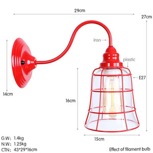 Nordic Creative American Country Aisle Restaurant Living Room Decoration Retro Wrought Iron Art Red Glass Wall Lamp A C90-260 V