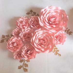 2020 طفل الوردي / العاج العملاق ورقة زهور 10PCS + أوراق 5PCS لحفل الزفاف حدث طفل الحضانة عرض الأزياء Aritificial روز