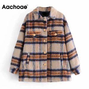 AACHOAE Moda Kış Yün Gömlek Ceket Kadın Ekose Uzun Kollu Gevşek Ceket Down Yaka Vintage Cepler Dış Giyim