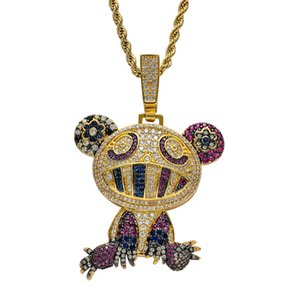 European and American Hip Hop Accessories Full Bling Colorful CZ Stone Cartoon Pendant Necklace for Mens Rapper Street Jewelry