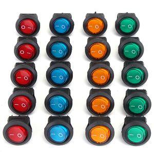 20 PCS Four Colors 12V 3Pins LED Rocker Toggle SPST Switch Dot Light Car Auto Round ON OFF