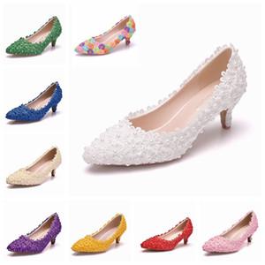 Kristal Gelin Kraliçe Düğün Ayakkabı Tatlı Kadın Ince Yüksek Bayanlar Bahar Düşürmek Düşük Topuklu Elbise Parti Bombaları E0YN