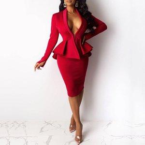 Офисные дамы два куска наборы осенью сексуальное V-образным вырезом от голосования привязки клейкое пальто и корпусная юбка Bodycon элегантные женщины устанавливают красные причинные сумассы1