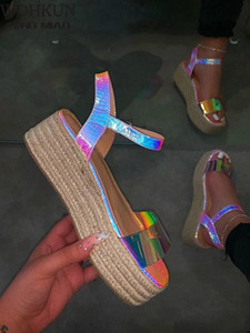 2021 Frühling Sommer Schuhe Frauen Hanf High Heel Platform Outdoor Freizeit Schnalle Hausschuhe Strand Sandalen Damen Sexy Chiling Sandalen # L31F