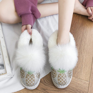 Rimocy Fluffy Fur Warm Woman Snow Boots Shiny Pineapple Crystal Flat Ankle Boots Women Winter Short Plush Platform Shoes Ladies