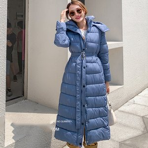 women's X-long thick parka winter solid jackets with sashes epaulet hooded plus size warm coat female outwear giacca donna 201124