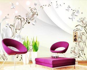Custom 3d Flower Wallpaper Romantic Tulips 3D Three-dimensional Indoor Background Wall Elegant and Generous 3d Mural Wallpaper