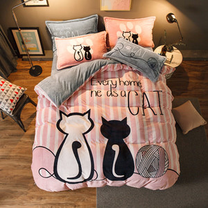 Luxury Bedding Set Flannel Cartoon Pink Cat Duvet Cover Set Queen Size Bed Linen Valentine Cute Bed Sheet Kids Bedding T200706