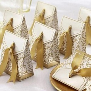 10pcs Creative Golden Silver Ribbon Favors Party Gift Candy Paper Box Wedding Gift Boxes Party Bag