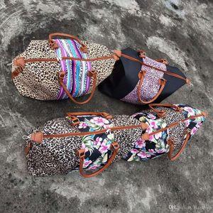 New fashion style print patchwork women weekender bag leather handle large serape leopard handbag multifunction floral travel tote bag
