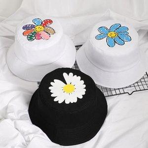 2020 Весна Женщины Улыбающиеся Лицо Век Рыболовные Шляпы Солнцезащитный крем Маленькие ромашки Весна Леди Рыбак